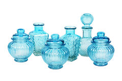 Błękitny glassware ustawiający z wzorem Obraz Stock