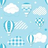 Błękitny gorące powietrze balonów wzór Obrazy Stock