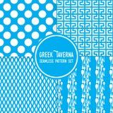 Błękitny grecki tawerna temat Ornamenty, kropki i cutlery kształty, Bezszwowy wektoru wzoru tła set ilustracja wektor