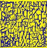 Błękitny grungy liczba koloru żółtego tło i listy royalty ilustracja