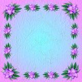 Błękitny grungy tło z kwiecistym ornamentem Obrazy Royalty Free
