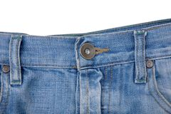 błękitny guzika drelichu cajgi Obrazy Stock