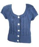 błękitny guzika kurtki trykotowa s kobieta Fotografia Stock