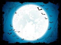Błękitny Halloweenowy tło z nietoperzami Fotografia Stock