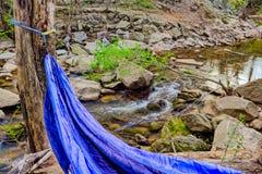 Błękitny hamak w drewnach z małą rzeką obrazy stock