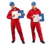 błękitny hardhat inspektorski czerwieni mundur Fotografia Stock