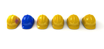 błękitny hardhat ones yellow Obraz Royalty Free