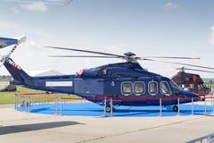 Błękitny helikopter przy międzynarodową wystawą Zdjęcia Royalty Free