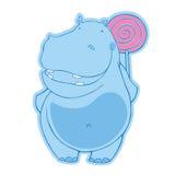 Błękitny hipopotam z cukierkiem Zdjęcia Royalty Free