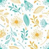 Błękitny i żółty abstrakcjonistyczny kwiecisty tło ilustracja wektor