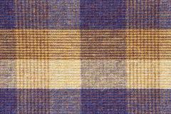 Błękitny i żółty szkockiej kraty tkaniny zakończenie up obraz royalty free