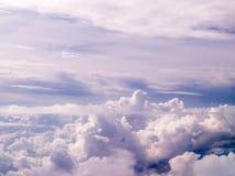 Błękitny i Biały Cloudscape Od powietrza Obrazy Royalty Free