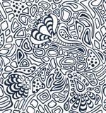 Błękitny i biały monochromatyczny bezszwowy wzór z abstrakcjonistycznymi kwiatami Zdjęcia Stock