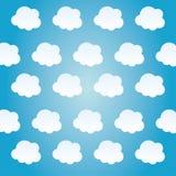 Błękitny i biały tło chmury ikona ilustracja wektor
