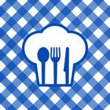 Błękitny i biały tablecloth Zdjęcia Stock