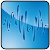 Błękitny i czarny sinusolidal wykres Zdjęcia Royalty Free