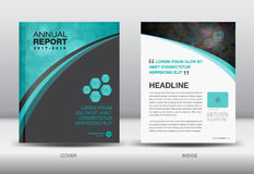 Błękitny i czarny sprawozdanie roczne szablonu pokrywy projekta wektor Obrazy Royalty Free