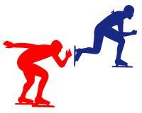 Błękitny i czerwony łyżwiarstwo sport ilustracja wektor