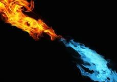 Błękitny i czerwony ogień obraz royalty free