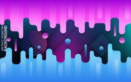 Błękitny i fiołkowy płaski kształt na jaskrawym tle Dynamiczny ruch geometryczni kształty kolorowy ilustracji
