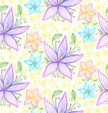 Błękitny i fiołkowych kwiatów bezszwowy wektoru wzór Zdjęcia Royalty Free