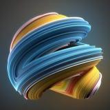 Błękitny i kolor żółty barwiący przekręcający kształt Komputery wytwarzający abstrakcjonistyczni geometryczni 3D odpłacają się il Obrazy Stock