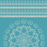 Błękitny i kremowy Indiański henna słonia mandala tło Obraz Royalty Free