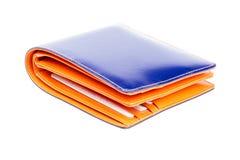Błękitny i pomarańczowy rzemienny portfel Zdjęcia Royalty Free