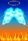 Błękitny i pomarańczowy tło z uskrzydla z złotą gracją Obraz Royalty Free