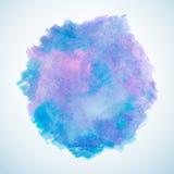Błękitny i purpurowy akwareli pluśnięcia projekta element Zdjęcie Royalty Free