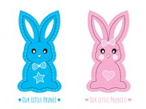 Błękitny i Różowy Śliczny królika charakter wektor odizolowywający na białym tle, królików charaktery chłopiec i dziewczyna, ilustracji