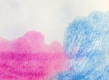 Błękitny i różowy akwareli tło ilustracja wektor