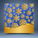 Błękitny i złocisty szablon Zdjęcia Royalty Free