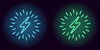 Błękitny i zielony neonowy elektryczny znak Obraz Royalty Free