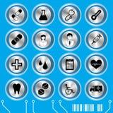 błękitny ikon medyczny set royalty ilustracja