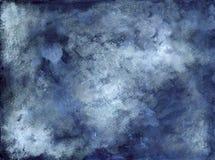 Błękitny Indygowy Biały Zakurzony Abstrakcjonistyczny tło - atrament na papierze Zdjęcie Stock