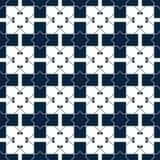 Błękitny islamski wzór Orientalna tartan tekstura Geometryczny kwiecisty bezszwowy wzór abstrakcyjny tło Zima ornament ilustracji