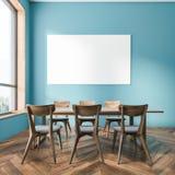 Błękitny jadalni wnętrze, horyzontalny plakat ilustracja wektor