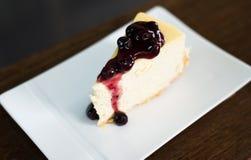 Błękitny Jagodowy Cheesecake Fotografia Stock