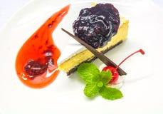 Błękitny Jagodowy Cheesecake Obraz Stock