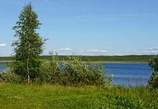 Błękitny jeziorny brzeg Obraz Royalty Free