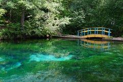Błękitny jezioro, drzewa, most Obrazy Royalty Free
