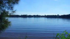 Błękitny jezioro przy farma parkiem Obraz Royalty Free