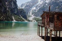 Błękitny jezioro w dolomitach Zdjęcia Royalty Free
