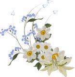 błękitny kędzior kwitnie biel ilustracji