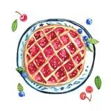 Błękitny kanapka tort na higt naczyniu, filiżanka coffe, plasterka tort a Obraz Royalty Free
