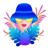 błękitny kapeluszowa kobieta ilustracja wektor