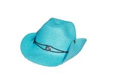 błękitny kapeluszowa słoma Fotografia Stock