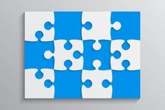 Błękitny kawałek łamigłówki sztandar 12 krok Tło royalty ilustracja