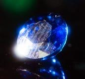 Błękitny klejnot na czarnym tle Zdjęcie Royalty Free